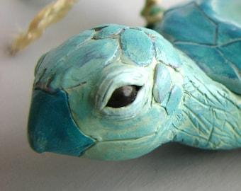 Island Bearer - Handmade OOAK Sea Turtle Polymer Clay Sculpture
