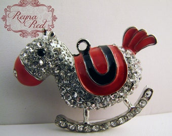 Cute Red Enamel & Rhinestone Rocking Horse Pendant, lovely horse pendant, focal by reynaredsupplies