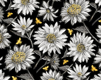 Half Yard Fabric-A Bees Life-Black Daisy