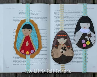 Custom Felt Saint Bookmark with elastic band - First Holy Communion, Confirmation, Bibles, journals, planners, novels, school books