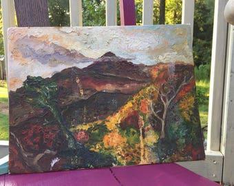 Vintage  Mountain Scene Painting