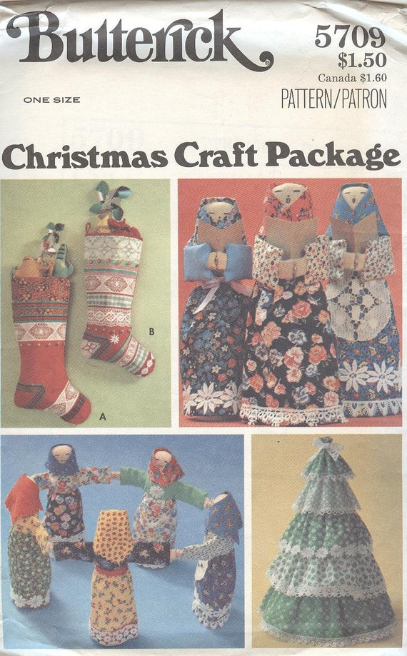 Christmas Stocking Pattern Butterick 5709 Stockings Trees Doll ...
