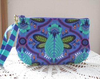 Tula Pink Fabric, Bee in Iris, Bee Wristlet, Purple Clutch,  Zipper Gadget Purse Bumble Bee