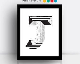 Letter J print - hand drawn typeface