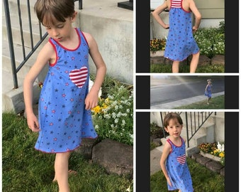 Patriotic Racerback Dress: 12mth to girl's size 8. Red white and blue 4th of July outfit