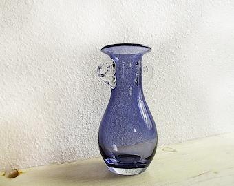Blue Vase, Blue and Clear, Vintage Base, Blue Glass Vase, Table Decor, Blue Purple, Room Decor, Blue Decor, 1960's Decor