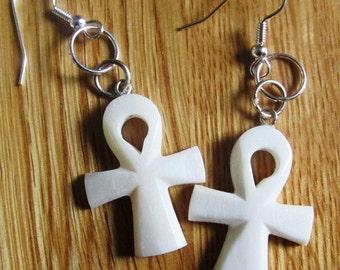 White Ankh Earrings