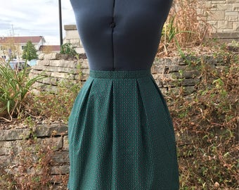 Stained Glass Pleated Skirt with Pockets, Turquoise Skirt