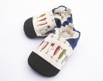 Organic Vegan Fishing Lures / non-slip soft sole baby shoes / made to order / Babies Toddlers Preschool