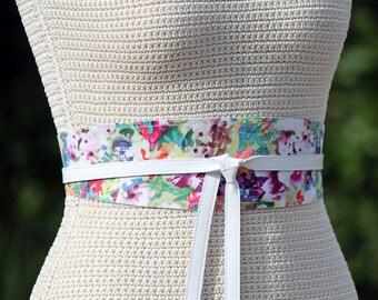 REVERSIBLE Leather + Fabric Obi Wrap Belt - Floral Print Sash XS S M L Petite + Plus Size - double sided belt custom color leather