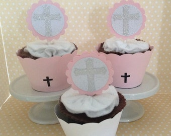 Baptism, Christening, 1st Communion, Confirmation Party Girls Pink With Silver Cross Cupcake Topper Decorations - Set of 10