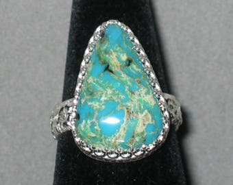 Turquoise Sterling Silver Ring, Size 9