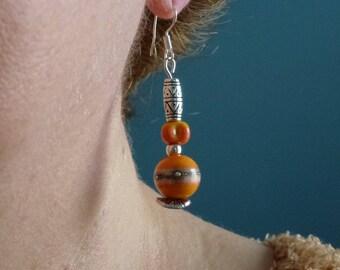 Orange Lampwork Glass beads earrings