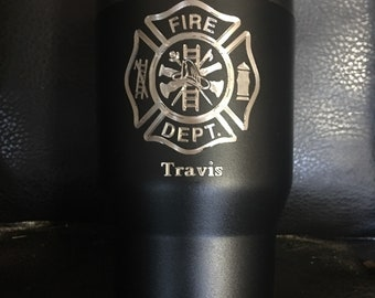 Powder coated personalized Fireman tumbler 30 oz