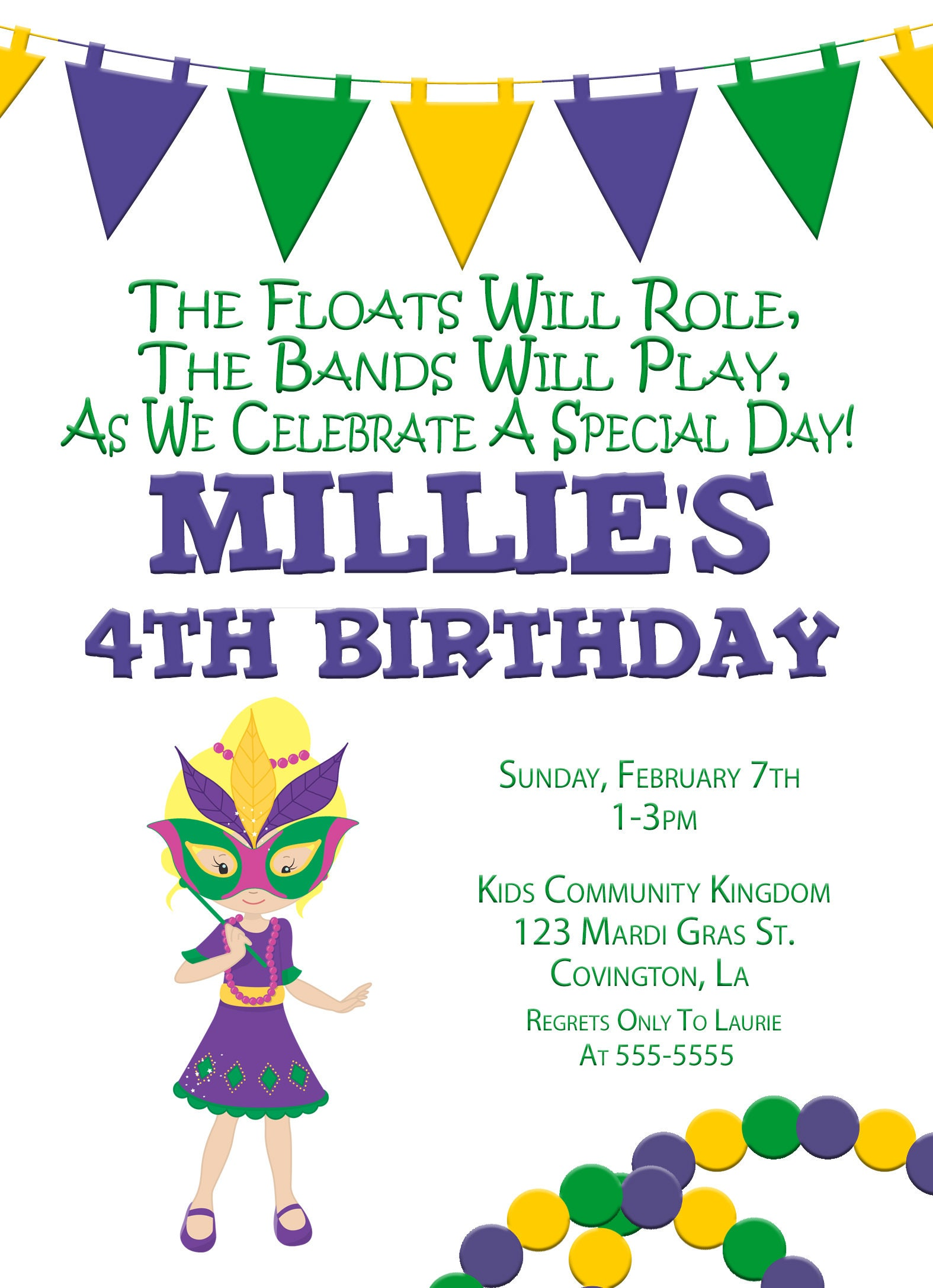 Mardi Gras Birthday Party Invitation, Mardi Gras Party, Parade party ...