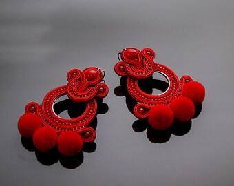 Dark red Soutache earrings with Jadeite.