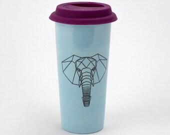 Large 20oz Hand Painted Travel Mug with Faceted Elephant