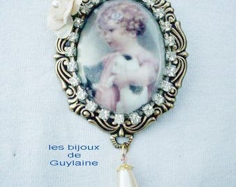 retro brooch cameo cat swarovski crystal
