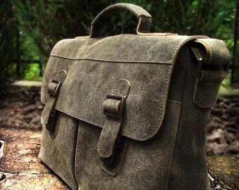 Leather khaki messenger bag  Mens messenger bag Men bag Mens leather messenger bag for men Briefbag for men briefcase bag for men