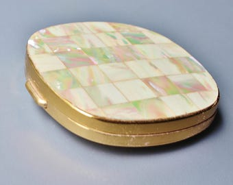 Vintage Retro 1960s Paris Presents Ltd Mother of Pearl  Shell Inlaid Brass Powder Mirror Compact Case