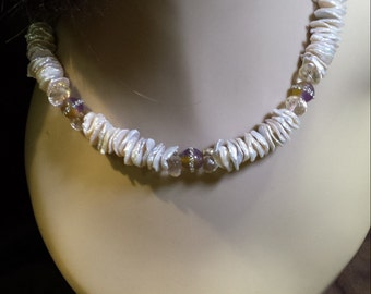 One strand Keshi Pearl necklace with inlaid jasper and faceted citrine