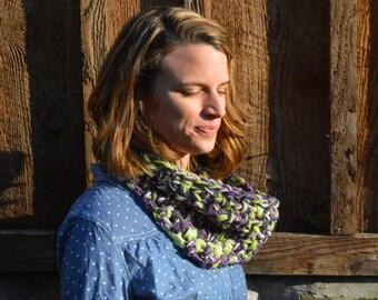 Chunky Purple & Green Wool Blend Cowl Neck Warmer Infinity Scarf