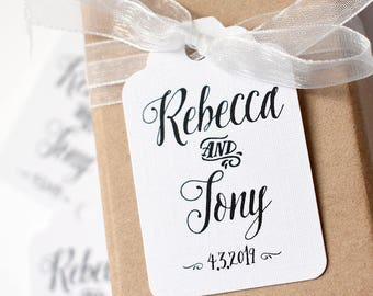 Wedding swing tags, hand lettering style, monochrome tags, wedding favour tags, bomboniere, gift tag, favour tags, custom tag, wedding decor