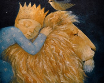 """Limited edition giclée print of original painting by Lucy Campbell - """"Lion, Bird"""""""