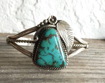 SALE! Pilot Mountain Turquoise Cuff Bracelet - Handmade Southwestern BOHO Sterling Silver Metalsmith Jewelry December Sagittarius Birthstone