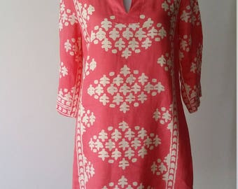 Ikat dress, S, M, boho dress, linen dress, coral dress, pink dress, summer dress, fall dress, cotton dress