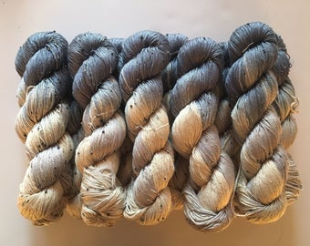 Hand Beaded & Dyed Mulberry Silk Yarn // SMOKE - Blue Gray, Pearl and Light Beige // Approx 220 yards per skein // 1 Skein