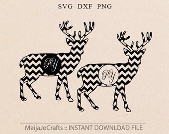 monogram SVG Chevron Reindeer svg Deer monogram Cricut downloads Cutting Files Chevron svg Cricut files Animals svg Deer Clipart PNG