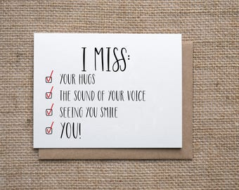 I Miss You Checklist | Long Distance Card | Deployment, Military Card | Missing You Card