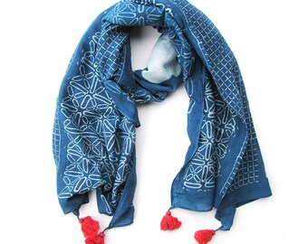 Blue scarf, Indigo Navy blue wrap, block printed, wholesale scarf, Cotton Silk, for women, Fashion, Accessories, Mothers day Gift - Stars
