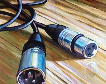 """Male and Female - Portrait of a Microphone Cable 10""""x10"""" giclee print"""