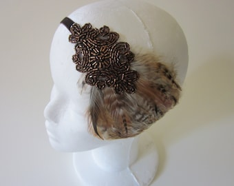 Bronze Gatsby headpiece, 1920s bronze headband, robe charleston, feather headband, 1920s fascinator, Annees 20 great gatsby headband