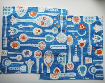 "Linen-Cotton Napkins ""Loony Spoony Yard Sale Blue"" 11 x 11 inches 28 x 28 cm Scandinavian Folk Serving Dining Lunch Utensils Gift Kids"