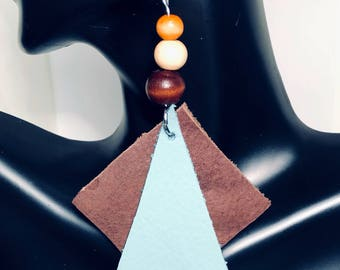 Teal and Brown Leather Wooden Beads Statement Earrings- SALE