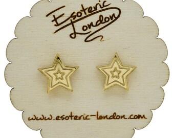 Little mirror stars stud earrings