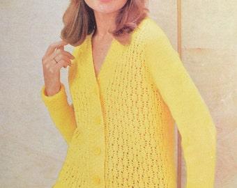 Vintage knitting pattern cardigan raglan jacket lady's pdf INSTANT download pattern only pdf 1960s