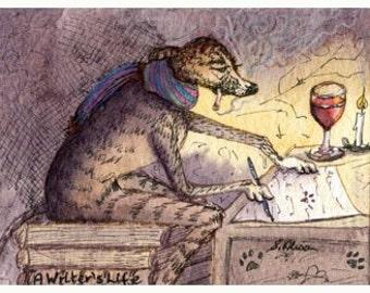 Greyhound Whippet 8x10 print - author writer dog art