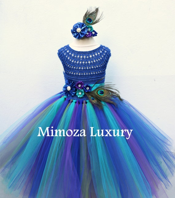 Peacock Royal Blue dress, Peacock blue tutu dress, Royal blue flower girl dress, royal blue princess dress, crochet top tulle dress, pageant