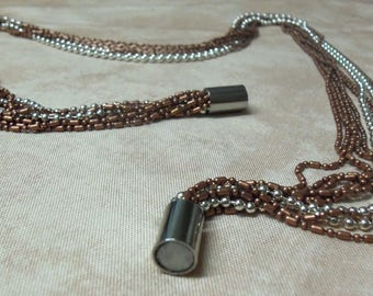 Silver and copper multi strand ball chain necklace