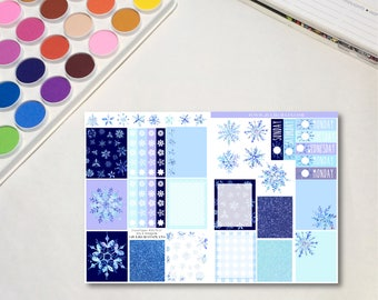 Winter Snowflake B6 Size Traveler's Notebook Planner Sticker Sheet