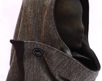 Hood e scarf,  with button Hooded Scarf - Hooded Shawl - Hood Scarf - Snood Scarf - Neck warming - Scoodie - Gift for her - Gift for him