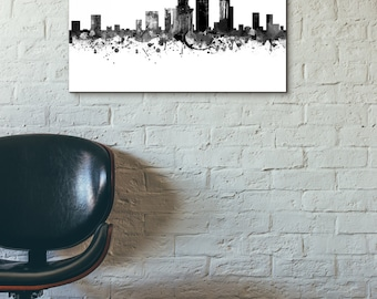 New York City Skyline, Black and White,Digital Watercolor Art Print, Modern Home Decor No,528