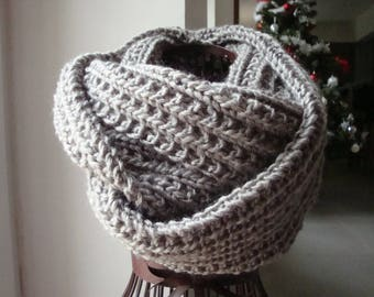 Scarf, snood, grey, soft, soft and very warm, mixed