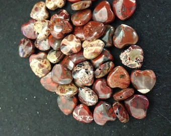 Vintage Poppy Jasper 12mm Softened Hearts