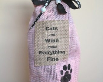 Cats and Wine make Everything Fine - Wine Bag