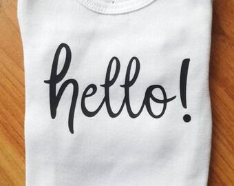 Hello! Bodysuit. Baby Clothing. Baby Girl Clothing. Shower Gift. Toddler Tee.